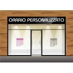 Adesivo vetrino orario di apertura negozio personalizzato