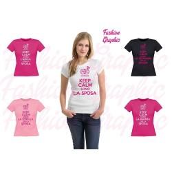 T-shirt donna matrimonio keep calm con fedi personalizzabile con inizali e data