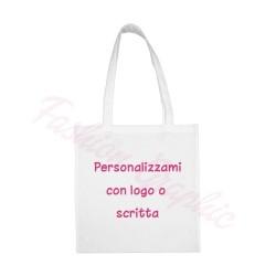 Borsa shopper cotone manico lungo personalizzata con logo o scritte
