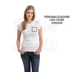 T-shirt uomo donna personalizzata stampa lato cuore a un colore
