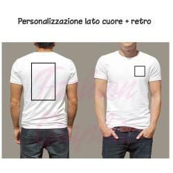 T-shirt uomo donna personalizzata stampa retro e lato cuore