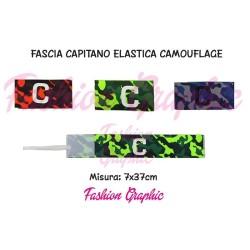 Fascia capitano elasticizzata modello mimetica camouflage con laccio per braccio