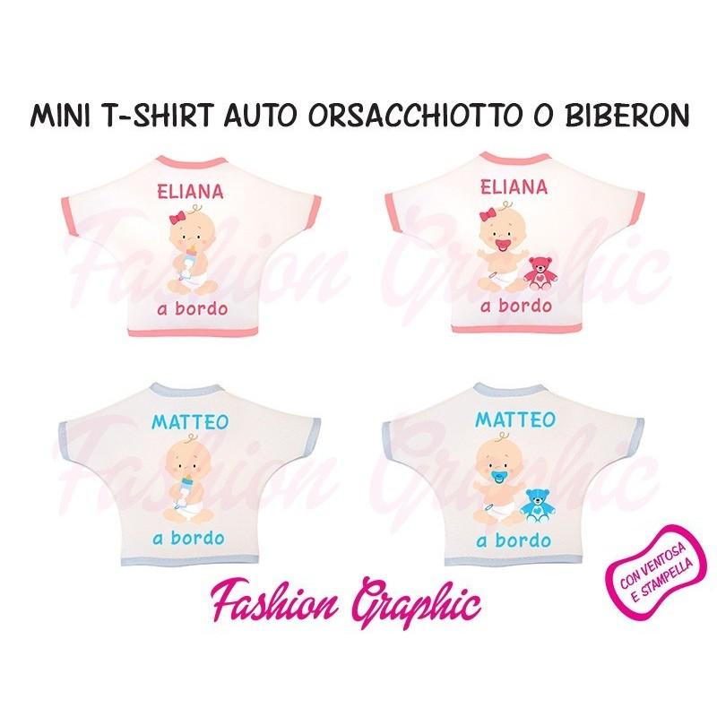 Mini t-shirt auto bimbo bimba a bordo biberon orsacchiotto personalizzata