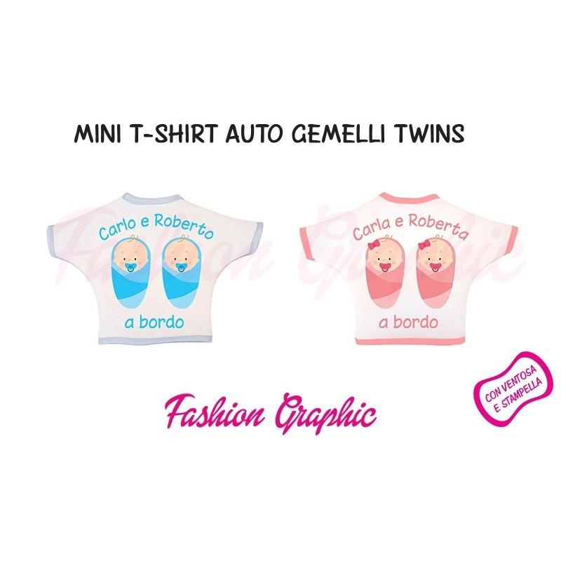 Mini t-shirt auto gemmelli twins bimbo bimba a bordo personalizzata con nomi