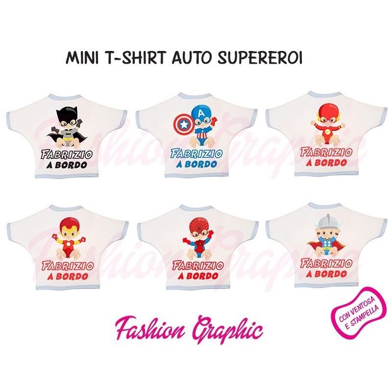 Mini t-shirt auto supereroi superheroes a bordo bimbo personalizzata con nome