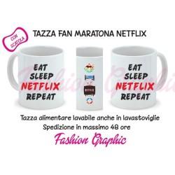 TAZZA MUG MARATONA MANGIA DORMI NETFLIX RIPETI SERIE TV NETFLIX