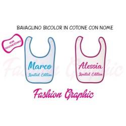 Bavaglino neonato bicolore nome Limited Editione in puro cotone