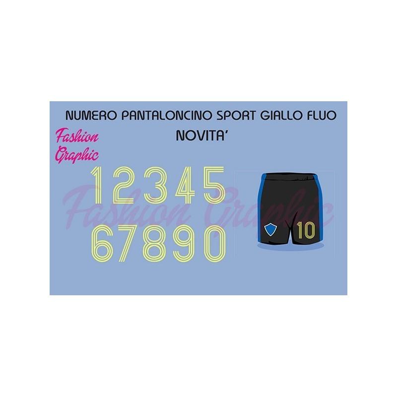 Numeri termosaldabili giallo fluo H10cm maglie calcio, rugby, sport