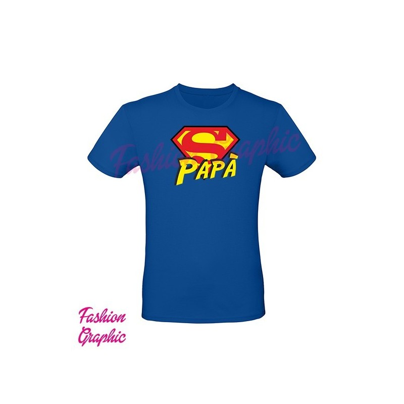 T-shirt Superpapà Supereroe festa del papà superman inspired versione stampata fronte retro