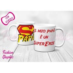 TAZZA MUG SUPERPAPA' SUPEREROE SUPERMAN INSPIRED ANCHE PERSONALIZZATA