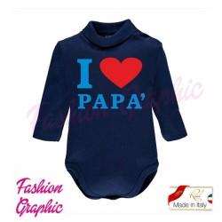 Body lupetto manica lunga I love amo mamma papà neonato neonata in caldo cotone