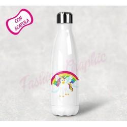 BOTTIGLIA TERMICA THERMOS ACCIAIO INOX UNICORNO ANCHE PERSONALIZZATA NOME BPA FREE
