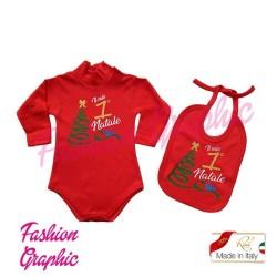 Coordinato Kit Body lupetto manica lunga il mio primo Natale più bavetta e bavaglino neonato neonata in caldo cotone