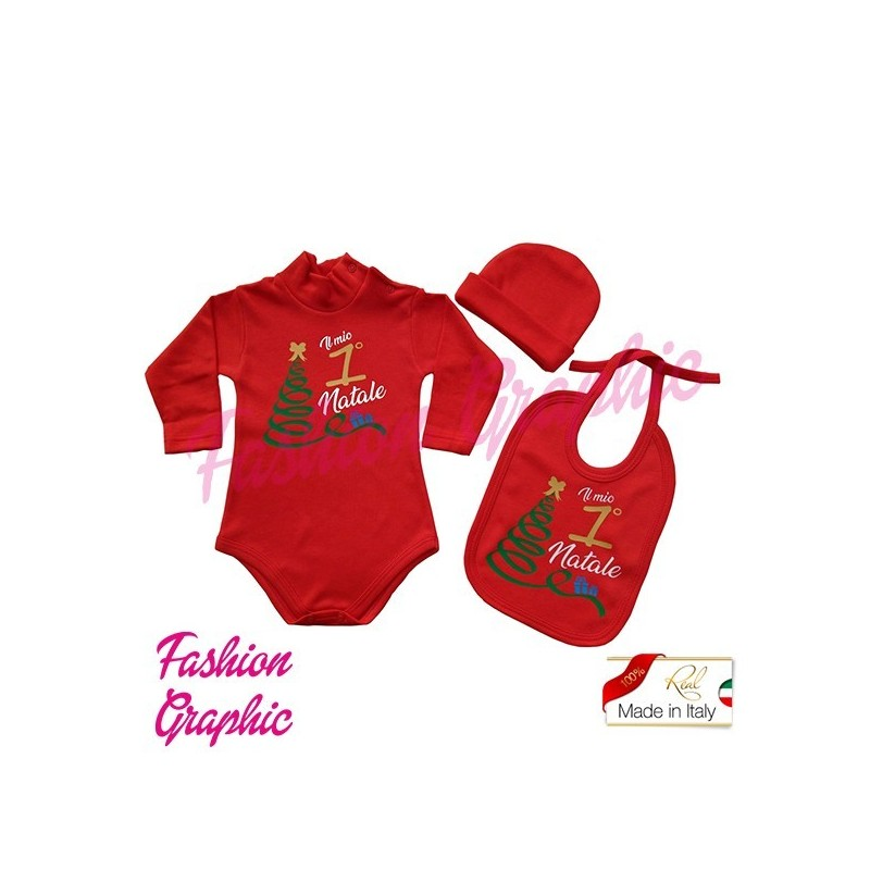 coordinato Kit Body lupetto manica lunga il mio primo Natale più bavetta bavaglino cappellino neonato neonata in caldo cotone