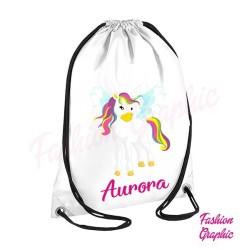 Zaino borsa sacca Unicorno Unicorn personalizzata nome scuola palestra sport fitness
