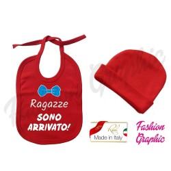 Coordinato Bavaglino bavetta Ragazze sono arrivato più cappellino neonato in caldo cotone made in italy