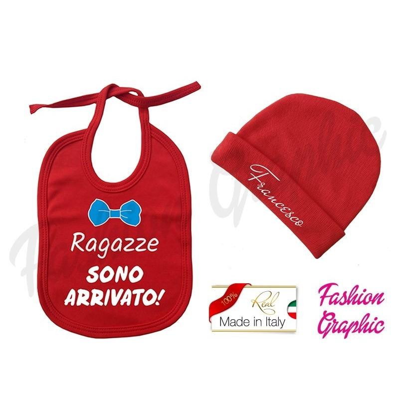 Coordinato Bavaglino bavetta Ragazze sono arrivato più cappellino personalizzato nome neonato in caldo cotone made in italy