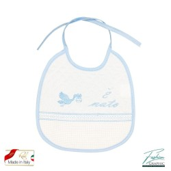 Bavaglino per neonato modello cicogna con tela aida