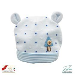 Cappellino neonato con orecchiette stelline e strisce righe in cotone made in italy