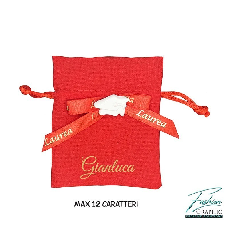 Kit sacchetti portaconfetti in tessuto rossi per laurea con tocco e personalizzazione nome